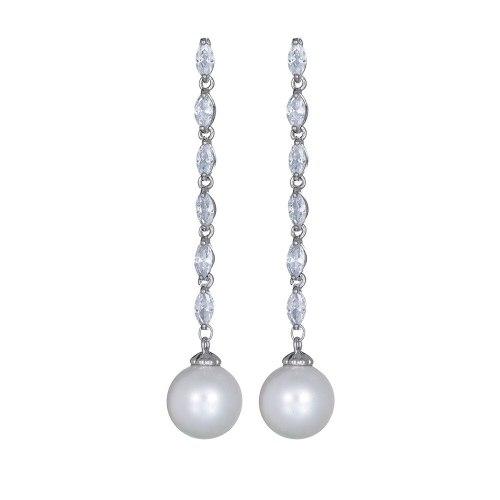 Tassel Long Shell Pearls Zircon Earrings 925 Sterling Silver Stud Earrings Korean Fashion Earrings Jewelry Qxwe1063