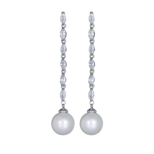 Tassel Long Shell Pearls Zircon Earrings 925 Sterling Silver Stud Earrings Korean Fashion Earrings Jewelry Qxwe1063