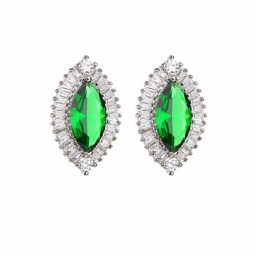 Korean-Style Exquisite AAA Zircon Stud Earrings Crystal Horse Eye Earrings  Female Gift Qxwe1137