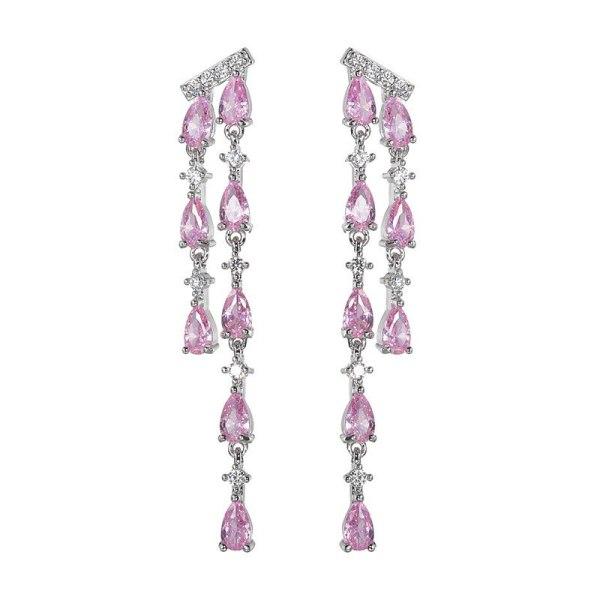 Tassel Long Earrings AAA Zircon Drop Inlaid Ear Pendant Non-Mainstream Dinner Dress Luxury Earrings 925 Silver Pin Qxwe1412