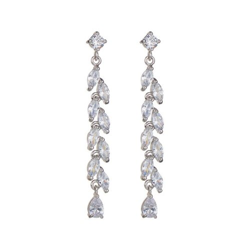 S925 Sterling Silver Pin Long Ear Stud Earrings Copper Inlaid AAA Zircon Willow Tassel Earrings Qxwe741