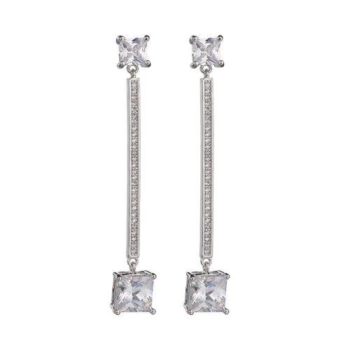 Korean Geometric Earrings X-Long AAA Zircon Inlaid Stud Earrings 925 Sterling Silver Pin Wholesale Fashion Earrings Qxwe814