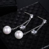 Korean Style S92 Silver Needle Pearl Earrings Long AAA Square Zircon Ear Pendant Stud Earrings Cool Girl Qxwe251814