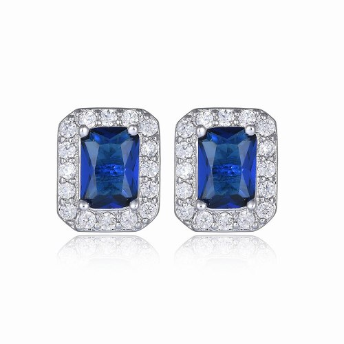 Rectangular Ear Stud Earrings AAA Zircon Copper Inlaid Ear Stud Korean Fashion Earrings Qxwe564