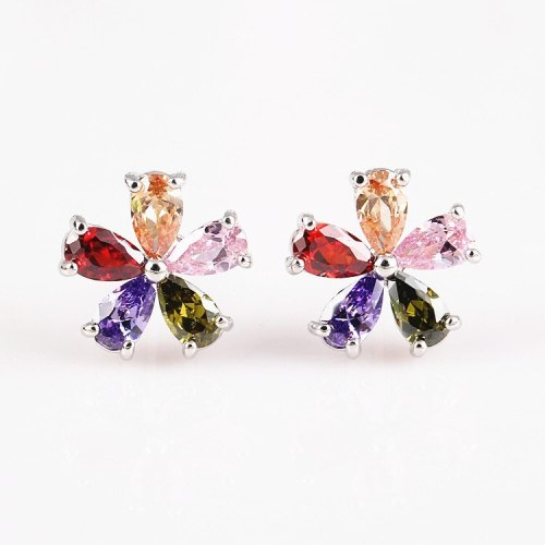 Korean Fashion Copper Inlaid Colorful AAA Zircon Stud Earrings Simple Flower Sterling Silver Pin Female Earrings Qxwe752