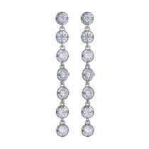 Zircon Crystal Earrings Korean-Style AAA Zircon Crystal Earrings Ear Pendant Retro Cool White Wholesale Qxwe933