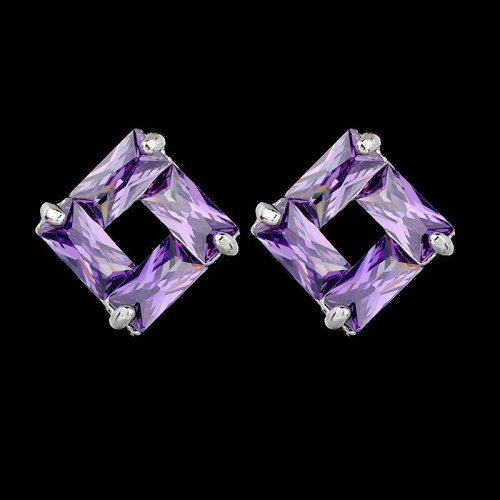 Geometric Rectangular AAA Zircon Earrings Colorful Inlaid Simple Stud Earrings Qxwe526