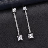 Korean Geometric Earrings X-Long AAA Zircon Inlaid Stud Earrings 925 Sterling Silver Pin Wholesale Fashion Earrings Qxwe814