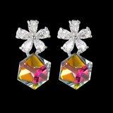 Rubik's Cube High-Grade Crystal Zircon Earrings Flower Ear Stud Earrings Korean Style New Earrings Qxwe715