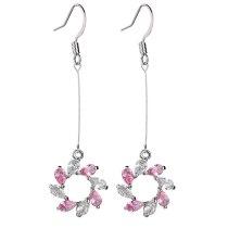 Flower Ear Pendant AAA Zircon Copper Inlaid Zircon Drop Earrings New Fashion Temperament Long Ear Stud Accessories Qxwe369