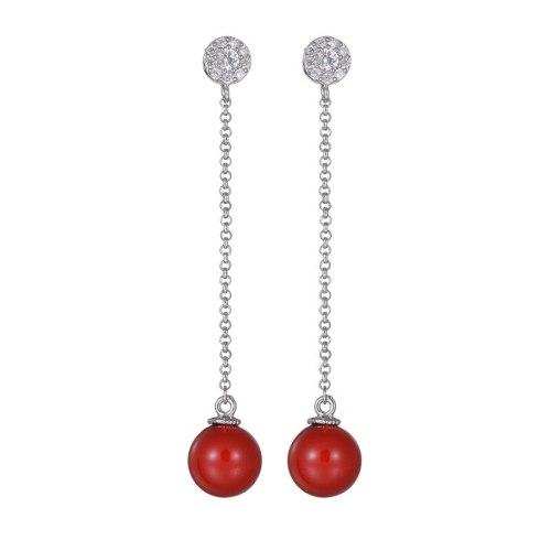 Korean Long Zircon Earrings Simple 925 Sterling Silver Needle Anti-Allergy Tassels Pearl Earrings Cool Fashion Jewelry Qxwe664