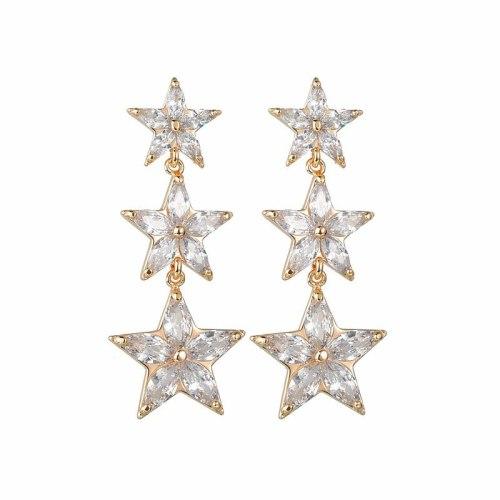 Long Five-Star Earrings AAA Zircon Inlaid Ear Stud 925 Sterling Silver Ear Pin Fashion Korean-Style Earrings Qxwe1409
