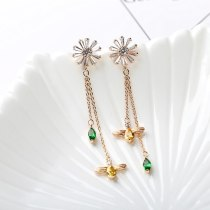 Daisy Galaxian Zircon Earrings Korean Style 925 Sterling Silver Pin Long Crystal Drop Tassel Earrings Qxwe1214