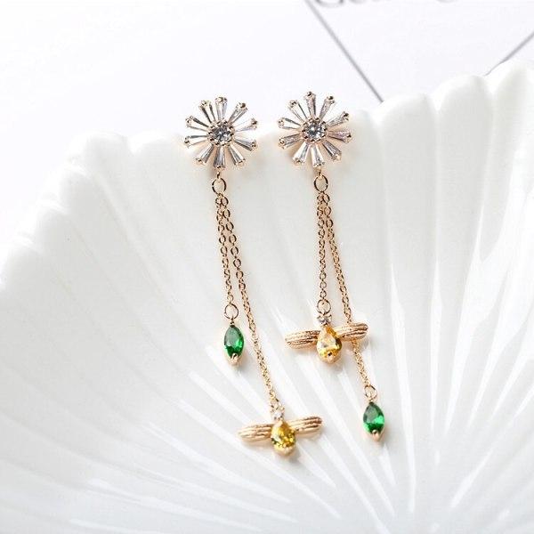 Daisy Galaxian Zircon Earrings Korean Style 925 Sterling Silver Pin Long Crystal Drop Tassel Earrings Qxwe1214