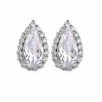 Water Drop Zircon Earrings Inlaid Simple Earrings Elegant Fashion Ear Stud Earrings Qxwe1160