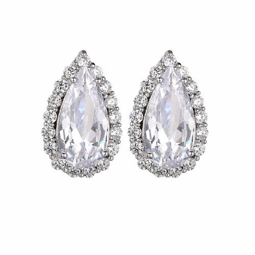 Water Drop Zircon Earrings Inlaid Simple Earrings Elegant Fashion Ear Stud Earrings Qxwe1160