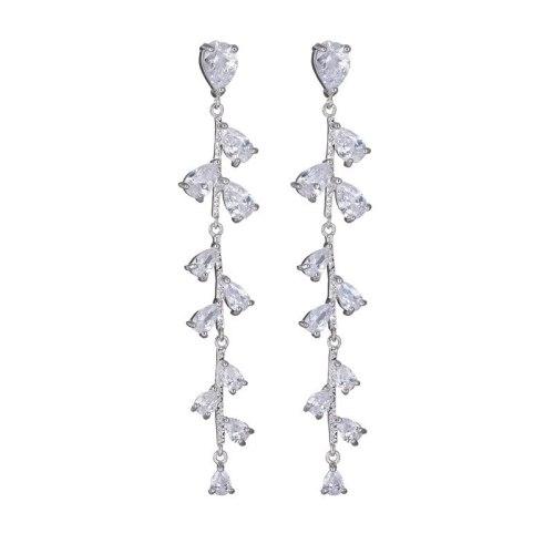 Korean-Style Tassel Zircon Earrings S925 Silver Needle Not Allergic Classic Fashion Leaves Ear Stud Earrings Wholesale Qxwe967