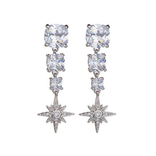 Long Earrings AAA Zircon Inlaid Platinum Plated S925 Silver Needle Ear Stud Star Earrings Qxwe831