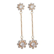 Fashion Creative Ear Stud Copper Inlaid AAA Zircon Earrings Korean-Style Floral Ear Stud Long Ear Pendant Qxwe1213