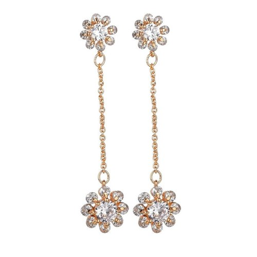 Fashion Creative Ear Stud Copper Inlaid AAA Zircon Earrings Korean-Style Floral Ear Stud Long Ear Pendant Qxwe1213