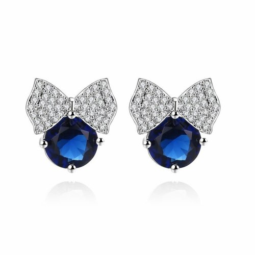 Korean Bow Zircon Earrings All-match Micro Pave Earrings Sterling Silver Stud Earrings Qxwe712