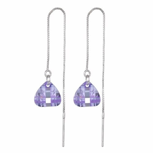 AAA Drop Zircon Earrings Korean Plated Platinum Long Hanging Earrings Simple Ear Stud Earrings QX10
