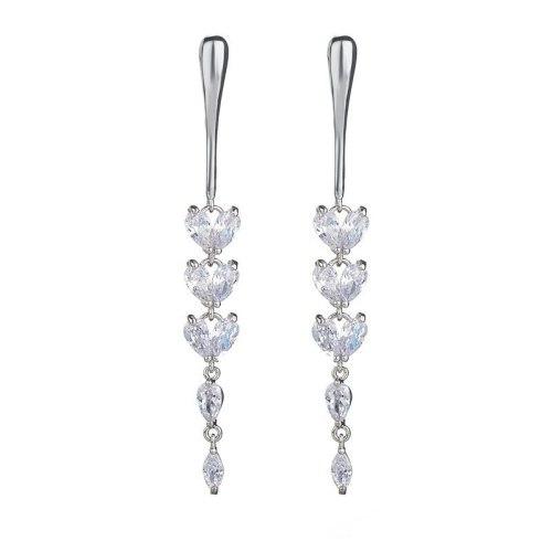 Tassels Long Zircon Earrings AAA Drop Inlaid Stud Earrings 925 Sterling Silver Ear Pin Korean Fashion Accessories Qxwe977