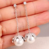 925 Silver Earrings Zircon Earrings Korean-Style Tassel Fruit Petals Ear Pendant Fashion Pearl Earrings Qxwe882