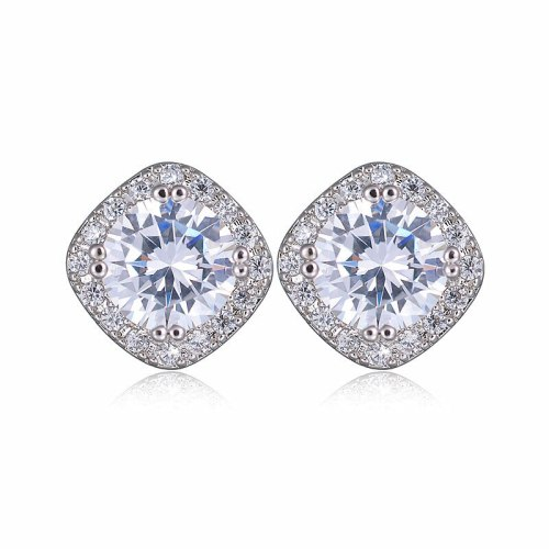 Korean-Style Stylish Stud Earrings Copper Inlaid AAA Zircon Earrings Classic Jewelry 925 Silver Pin Qxwe758