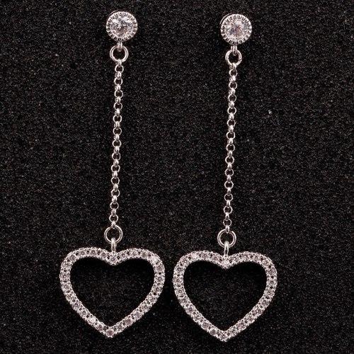 Big Lovely 925 Sterling Silver Stud Earrings Female Zircon Korean-Style Cool Long Earrings Female Ear Pendant Qxwe916