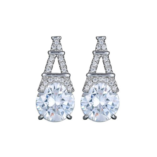 Iron Tower Stud Earrings Sterling Silver Ear Pin AAA Zircon Inlaid Earrings  Fashion Classic Jewelry Jewelry Qxwe1045