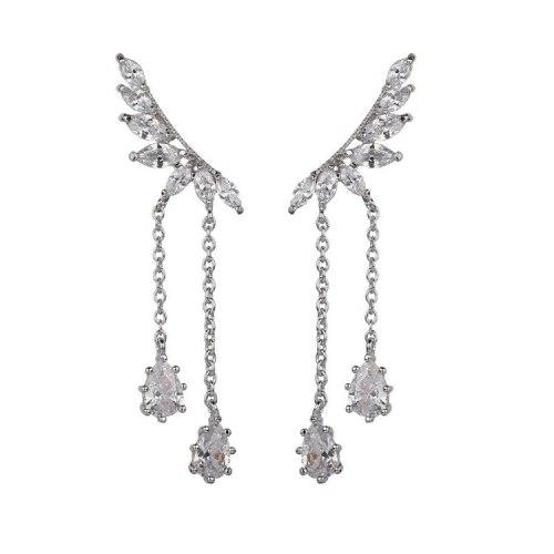 Wing Tassel Long Stud Earrings 925 Sterling Silver Pin Copper Inlaid AAA Zircon Earrings Korean Style Earrings Qxwe1132