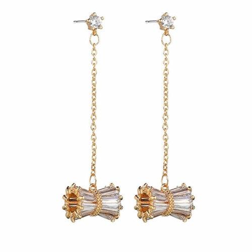 Creative Slim Waist Earrings AAA Zircon Earrings Pendant Korean Style Long Elegant Earrings Female Qxwe1304