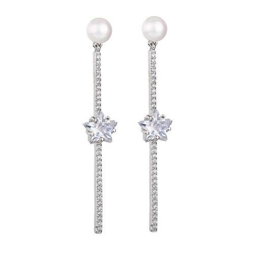 Korean-Style Pearl Ear Stud Earrings 925 Sterling Silver Ear Pin Five-Star Elegant Luxury Earrings Jewelry Qxwe1246