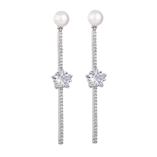 Korean-Style Pearl Ear Stud Earrings 925 Sterling Silver Ear Pin Five-Star Elegant Luxury Earrings Jewelry Qxwe1246