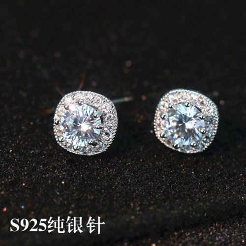 925 Sterling Silver Stud Earrings AAA Zircon Inlay Earrings  Wild Hipster Korean Version of The Jewelry QxWE696