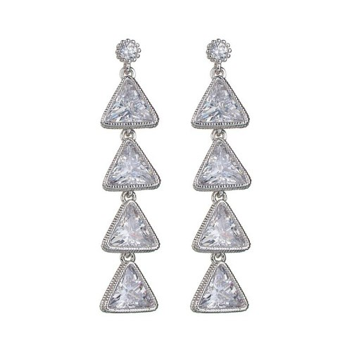 Korean-Style Stud Earrings Several Triangle Earrings Copper AAA Zircon Earrings Sterling Silver Ear Pin Qxwe816