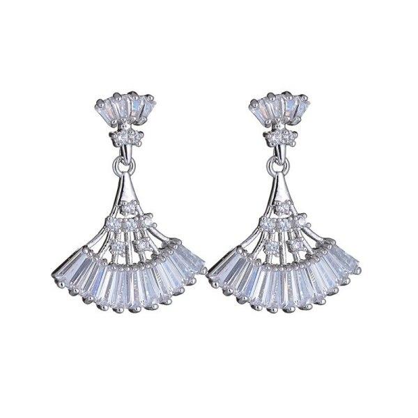 Fashion Fan-Shaped Stud Earrings Inlaid AAA Zircon Ear Pendant 925 Sterling Silver Ear Pin Female Earrings Qxwe1039