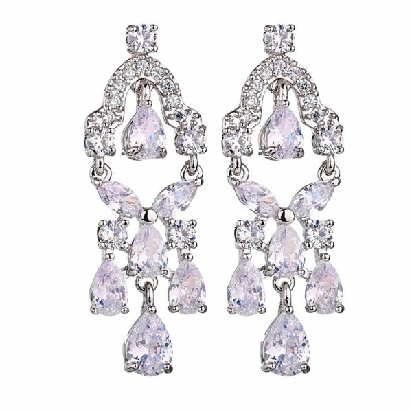 Korean-Style Zircon Earrings AAA Zircon Inlaid Luxury Dinner Gift Ear Stud Earrings Jewelry Qxwe1186