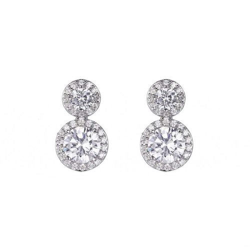 Stud Earrings Sterling Silver Ear Pin Copper Inlaid AAA Zircon Earrings Korean Fashion Earrings Jewelry Qxwe825