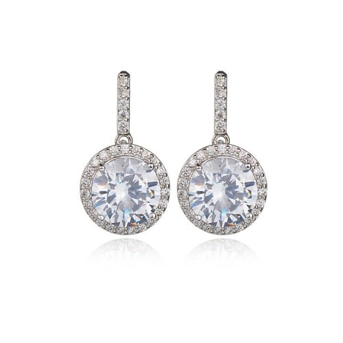 S925 Sterling Silver Pin Korean Fashion Earrings Female Ear Stud Earrings Jewelry AAA Zircon Inlaid Platinum Qxwe731