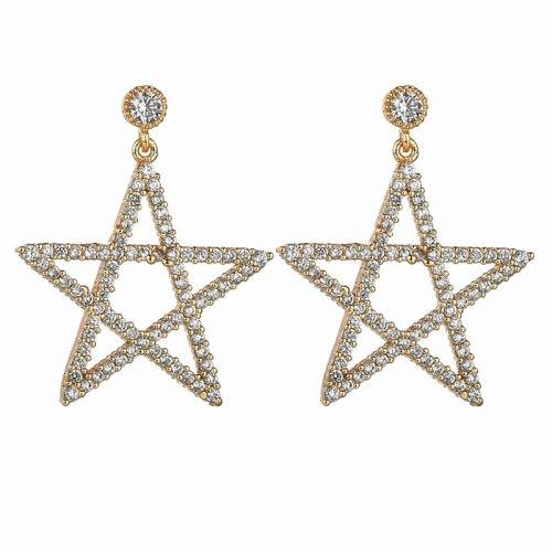 Five-Star Earrings AAA Zircon Micro-Inlaid Ear Stud Earrings 925 Sterling Silver Ear Pin Fashion Clothing Accessories Qxwe1036