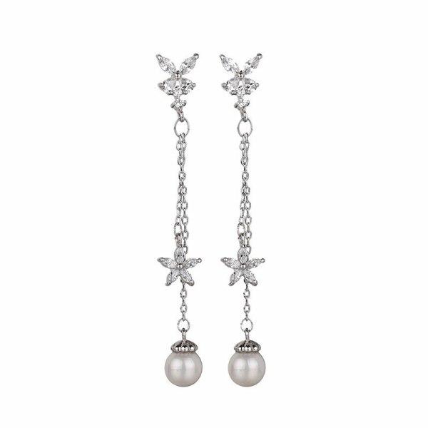 Butterfly Long Earrings Simple Pearl Zircon Ear Pendant S925 Sterling Silver Needle Tassel jewelry Flower Qxwe1144