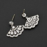 925 Sterling Silver Ear Pin Earrings Korean Style Fresh Fan-Shaped Exquisite Zircon Stud Earrings  Female Accessories Qxwe974