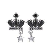 Crown Star Stud Earrings S925 Sterling Silver Pin Inlaid Black Zircon Korean Fashion Earrings Girl Jewelry Qxwe942
