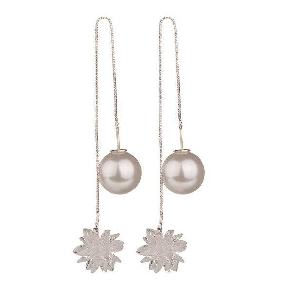 Long Earrings 925 Silver Needle Japanese and Korean Temperament Long Magic Ball Simple Pearl Crystal Zircon Female Earrings Qx36
