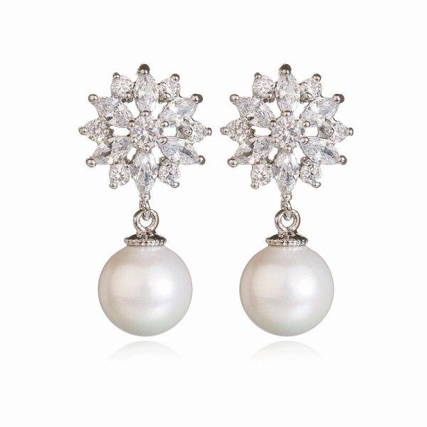 Taiyanghua AAA Zircon Earrings Pearl Earrings Women's Fashion Korean-Style Ear Pendant Earrings Qxwe725