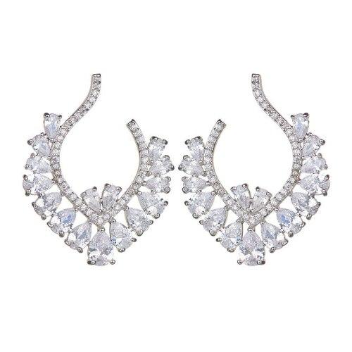 Korean-Style Gorgeous Ear Stud Sterling Silver Ear Pin AAA Zircon Inlaid Ear Stud Wedding Fashion Jewelry Qxwe975