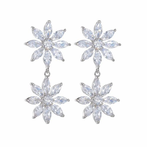 Korean-Style Creative New Flower Earrings AAA Zircon Inlaid Fashion Ear Pendant S925 Sterling Silver Pin Qxwe1424
