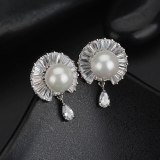 Pearl Stud Earrings 925 Sterling Silver Ear Pin AAA Zircon Inlaid Korean Fashion Ear Stud Earrings Qxwe989